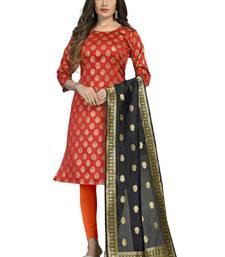 Fashionfricks Orange Banarasi Silk Top And Dupatta