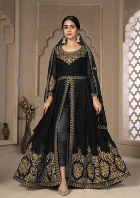 Black Color Front Slit Style Embroidered Faux georgette Anarkali Pants Salwar Suit