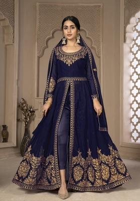 Blue Color Front Slit Style Embroidered Faux georgette Anarkali Pants Salwar Suit