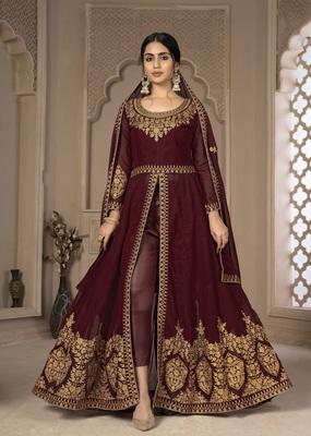 Maroon Color Front Slit Style Embroidered Faux georgette Anarkali Pants Salwar Suit