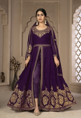 Purple Color Front Slit Style Embroidered Faux georgette Anarkali Pants Salwar Suit