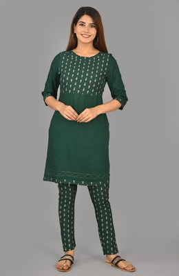 Aurish Green Print with Solid Kurta and Pant Set