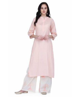 Pink Cotton stitched     printed  Kurti