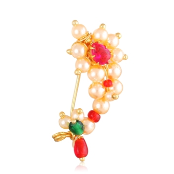 Maharashtrian culture Nath Oxidised Gold with Artificial stone and beads and Pearls Alloy Mini Nose Ring