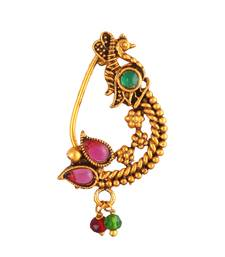 Oxidised Gold with Artificial stone and beads  with Peals Alloy Maharashtrian Nath Nathiya   Nose Pin for women