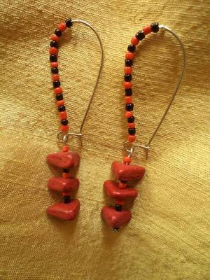 Red Triangles Earrings