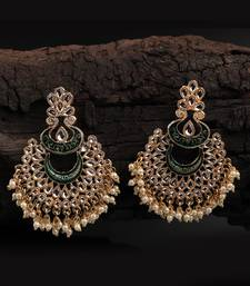 Green Gold Plated Stone Jhumkas