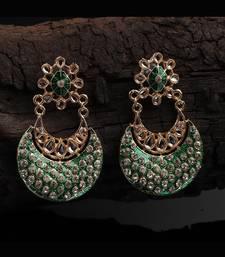 Green Gold Plated Chandbali Earrings