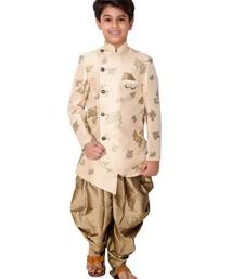 Beige plain cotton silk boys-indo-western-dress