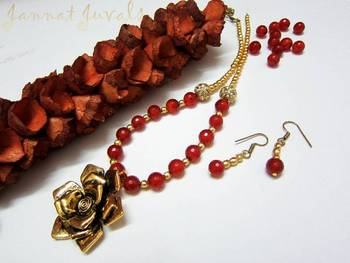 Traditional Orange and Golden neckset