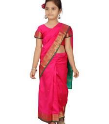 Rani-pink plain silk stitched saree