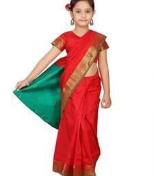 Red plain silk stitched saree