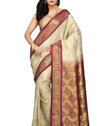 Buy Off White and Maroon woven art_silk saree with blouse kanchipuram-silk-saree online