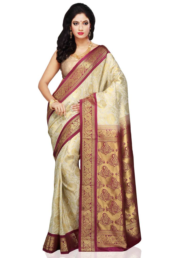 Buy Off White And Maroon Woven Art Silk Saree With Blouse