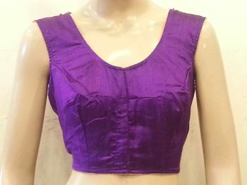 Purple raw silk handwork Blouse