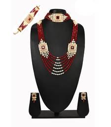 multicolor beaded jewellery Brass  Necklace Pair of Earring Chokar Bracelet