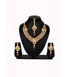 multicolor kundan Brass  Necklace  Pair of Earring