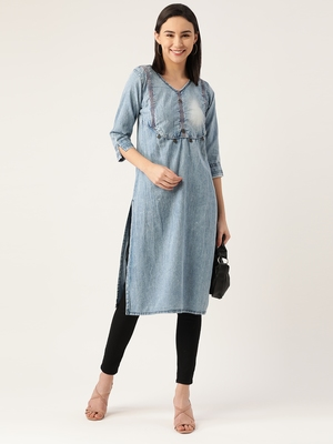 Kvsfab SKYBlue Cotton denim readymade with COIN WORK ON BODICE LINE party wear kurti