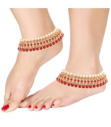 Pink beaded jewellery Yellow Gold Alloy   Pair of Anklet
