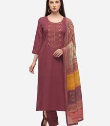Peach Cotton  Embroidery stitched kurta & bottom with dupatta