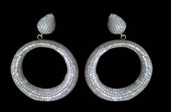 Hollow embellished cubic zirconia embellished earring
