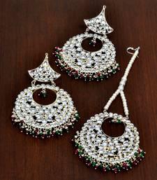 Ruby Emerald and Kundan Embellished Silver Plated Tikka MT150