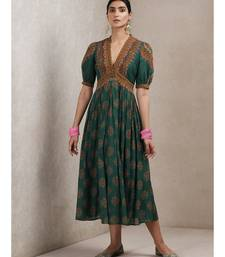 Green cotton Embroidered stitched   dress