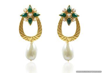 Kshitij Gold green drop earring