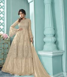 Beige Soft Net Indo western Style with Embroidery Work