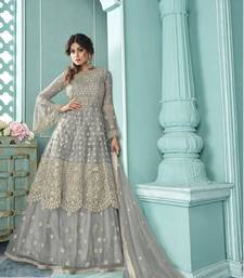 Grey Soft Net Indo western Style with Embroidery Work