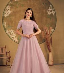 dusty pink taffeta semi stitched  gown with inner