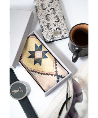 Men by  Men Blush Mosaic Diamond print silkmul Pocket Square for Men