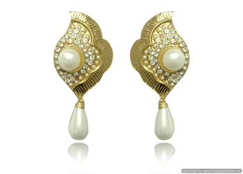 Kshitij Floral Top Earrings with White moti Drop Stone