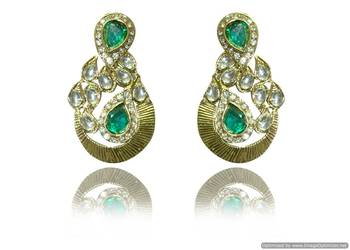 Kshitij Attractive Round Gold Plated Pearl Earrings