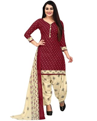 maroon cotton unstitched printed top & bottom with dupatta
