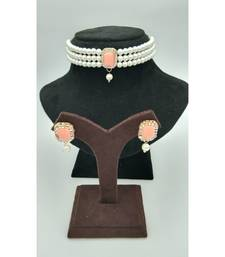 Choker set in Peach Color Beads and White Pearl