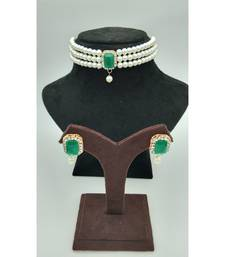 Choker set in Dark Green Color Beads and White Pearl