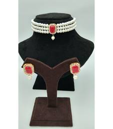 Choker set in Red Color Beads and White Pearl