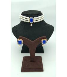 Choker set in Dark Blue Color Beads and White Pearl