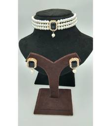 Choker set in Black Color Beads and White Pearl