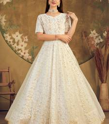 White FOILAGE PRINT NET EVENING LONG GOWN