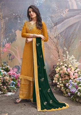 Yellow Upada silk Embroidered shtraight style salwar kameez Plazzo suit