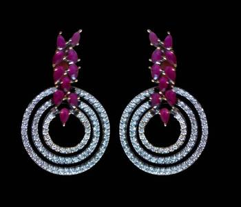 silver plated earrings embellished with semi-precious stones
