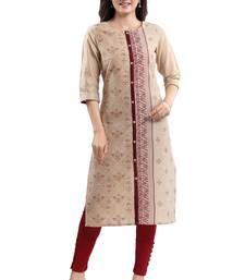 Beige printed cotton silk kurtas-and-kurtis