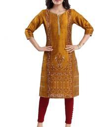 Mustard printed dupion silk kurtas-and-kurtis