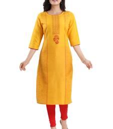 Yellow printed cotton silk kurtas-and-kurtis