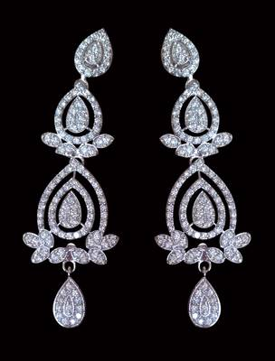 Silver plated danglers embellished with cubic zirconia stone