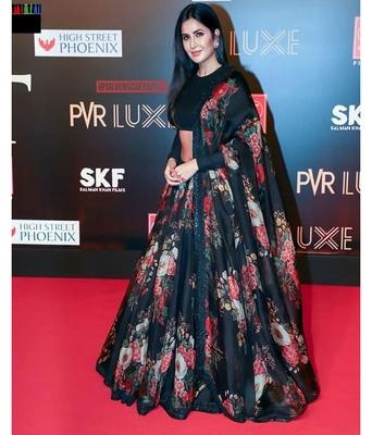 Gorgeous Black Floral Print Organza Wedding Bollywood Lehenga Choli with Dupatta