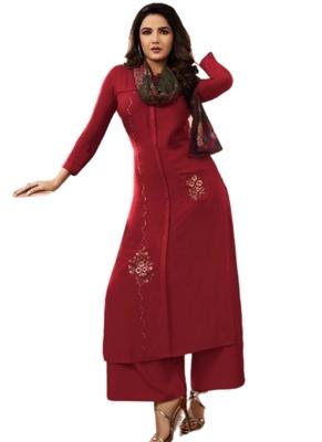 Maroon embroidered rayon ethnic-kurtis