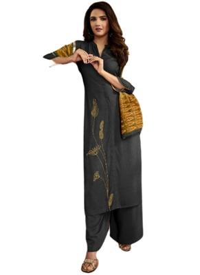 Grey embroidered rayon ethnic-kurtis